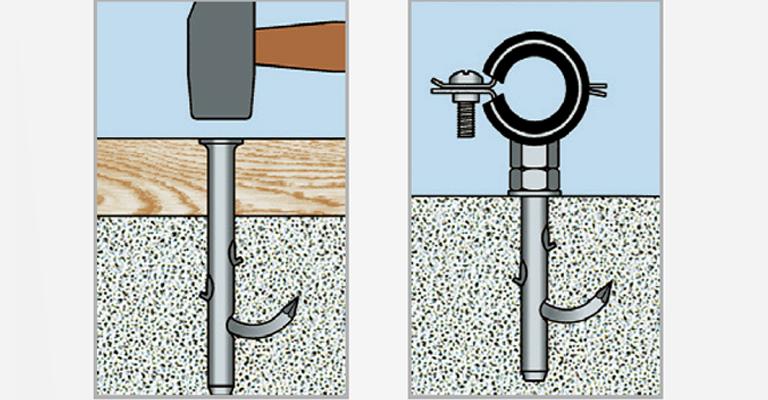 Nägel und Einschlagsysteme Anwendungen: Bilder Regale Rohrleitungen
