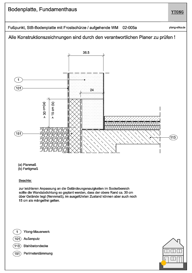 Stahlbetonbodenplatte (Frostschürze) 02-005a